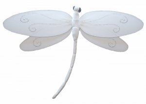 """7"""""""" White Swirl Dragonfly - nylon hanging ceiling wall nursery bedroom decor decoration decorations"""