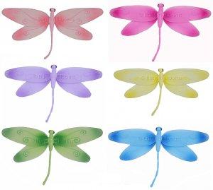 "10"""" Lot Swirl Dragonflies 6 piece Set dragonfly  - nylon hanging ceiling wall nursery bedroom decor"