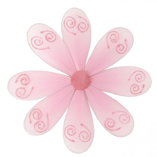 "10"""" Pink Swirl Glitter Daisy Flower - nylon hanging ceiling wall nursery bedroom decor decoration d"
