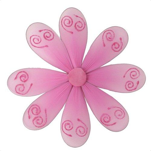 "6"""" Dark Pink (Fuschia) Swirl Glitter Daisy Flower - nylon hanging ceiling wall nursery bedroom deco"