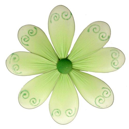 "10"""" Green Swirl Glitter Daisy Flower - nylon hanging ceiling wall nursery bedroom decor decoration"