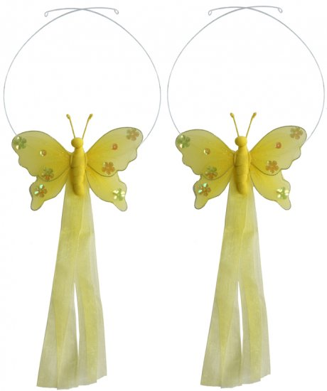 Yellow Jewel Butterfly Curtain Tieback Pair / Set - holder tiebacks tie backs nursery bedroom decor