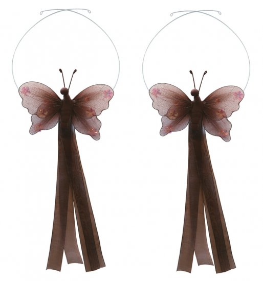 Brown Jewel Butterfly Curtain Tieback Pair / Set - holder tiebacks tie backs nursery bedroom decor d