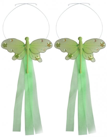 Green Jewel Dragonfly Curtain Tieback Pair / Set - holder tiebacks tie backs nursery bedroom decor d