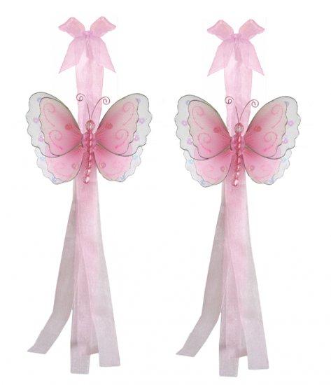 Pink Multi-Layered Butterfly Curtain Tieback Pair / Set - holder tiebacks tie backs nursery bedroom