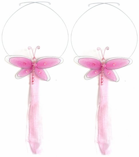 Dark Pink (Fuschia) Multi-Layered Dragonfly Curtain Tieback Pair / Set - holder tiebacks tie backs n