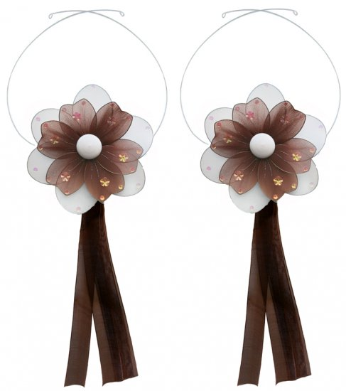 Brown Multi Layered Daisy Flower Curtain Tieback Pair / Set - holder tiebacks tie backs nursery bedr