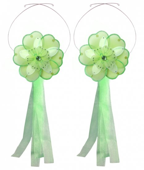 Green White Triple Layered Daisy Flower Curtain Tieback Pair / Set - holder tiebacks tie backs nurse