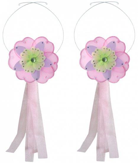 Pink Purple Green Triple Layered Daisy Flower Curtain Tieback Pair / Set - holder tiebacks tie backs