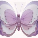 """10"""""""" Purple & White Triple Layered Butterfly - nylon hanging ceiling wall nursery bedroom decor deco"""