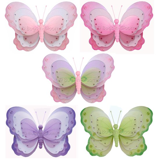"13"""" Triple Layered Butterflies 5pc Set - nylon hanging ceiling wall nursery bedroom decor decoratio"