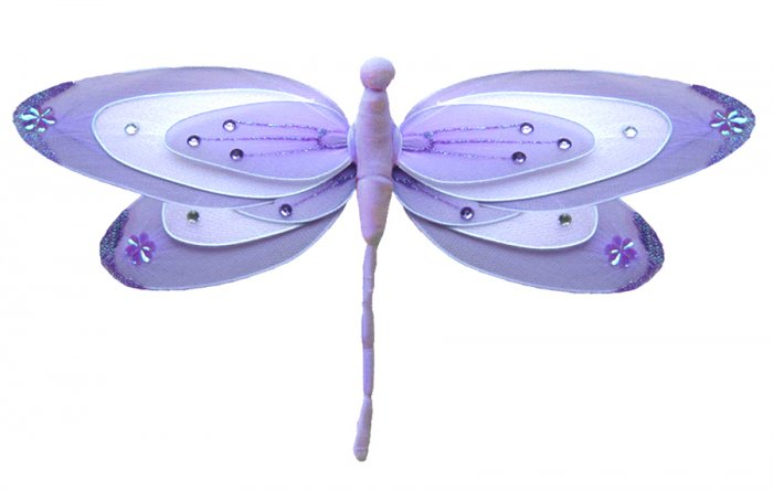 "13"""" Purple & White Triple Layered Dragonfly - nylon hanging ceiling wall nursery bedroom decor deco"