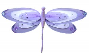 "13"""" Purple & White Triple Layered Dragonfly - nylon hanging ceiling wall nursery bedroom decor deco"