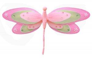 "13"""" Dark Pink (Fuschia), Green & Pink Triple Layered Dragonfly - nylon hanging ceiling wall nursery"