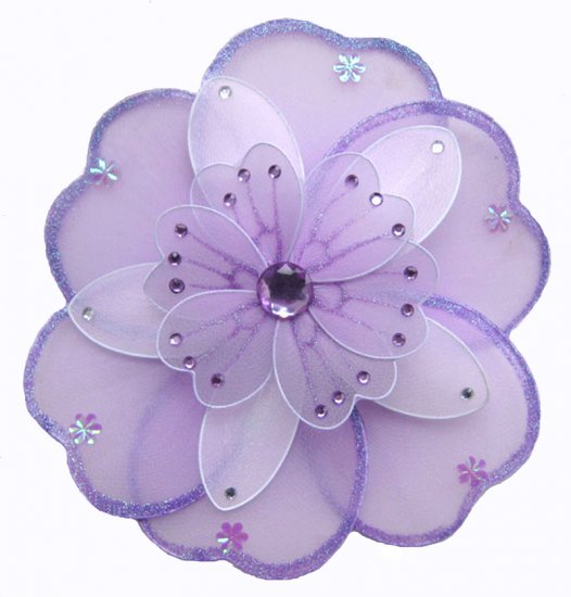 "10"""" Purple & White Triple Layered Daisy Flower - nylon hanging ceiling wall nursery bedroom decor d"