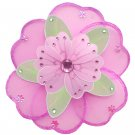 "6"""" Dark Pink (Fuschia), Green & Pink Triple Layered Daisy Flower - nylon hanging ceiling wall nurse"