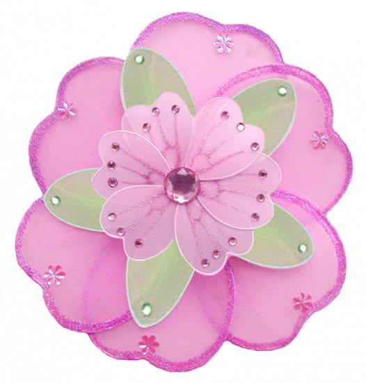 "10"""" Dark Pink (Fuschia), Green & Pink Triple Layered Daisy Flower - nylon hanging ceiling wall nurs"