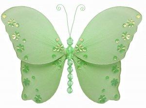 "13"""" Green Twinkle Bead Sequin Butterfly - nylon hanging ceiling wall nursery bedroom decor decorati"