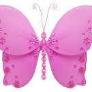 "5"""" Dark Pink (Fuschia) Twinkle Bead Sequin Butterfly - nylon hanging ceiling wall nursery bedroom d"