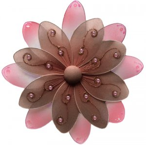 """6"""""""" Brown & Pink Two-Tone Daisy Flower - nylon hanging ceiling wall nursery bedroom decor decoration"""