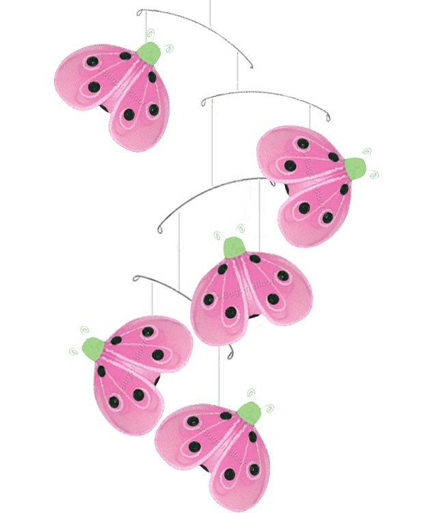 "24"""" Green Pink Shimmer Ladybug Mobile - nylon hanging ceiling wall nursery bedroom decor decoration"