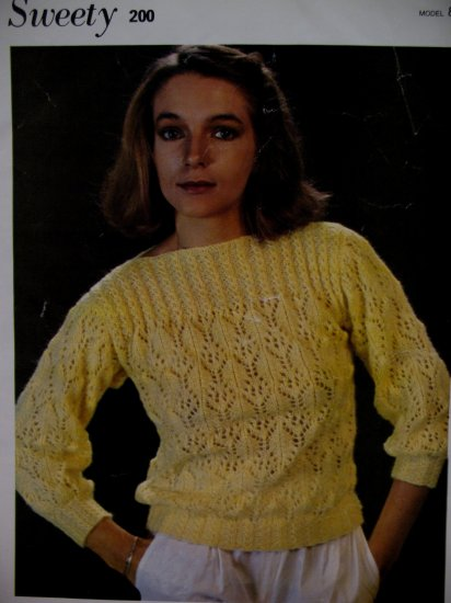 Sleeve Boat Neck Sweater Knitting Pattern French English Ladies