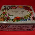 Vintage Bless This House Carr's Carrs Biscuits Cookie Tin Flowers