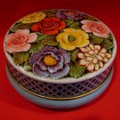 Vintage Riley's Rileys Toffee Tin Embossed Flowers Blue Souvenir Collector