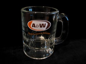 Vintage A&W ROOT BEER Mug Souvenir Glass Small CHILD Size The Difference Is Delicious