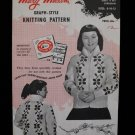 Vintage 1954 Mary Maxim Ramblin Rose Cardigan Sweater Knitting Pattern Girls 8-12