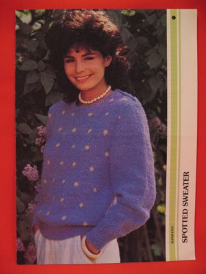 Super Chic Spotted Pullover Sweater Knitting Pattern Ladies