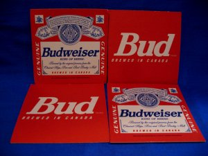 Budweiser King of Beers Beer Coaster Canada Souvenir set of 4