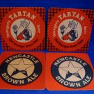 Youngers Tartan Newcastle Brown Ale British Beer Coaster Souvenir set of 2
