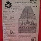 Vintage White Buffalo Indian Sailboat Sweater Knitting Pattern Childrens
