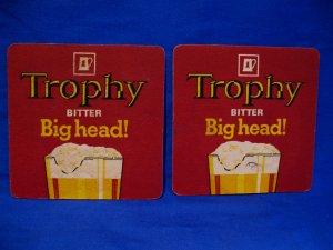 Vintage Trophy Bitter Big Head Lager Ale Beer Drink Coaster Souvenir set of 2