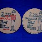 Original Pabst Blue Ribbon Beer Drink Coaster Souvenir set of 2