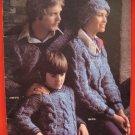 Bernat Danish Bulky Knitting Pattern Magazine FAMILY Sweaters Hats Jackets etc