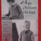 Vintage Patons 4 Ply Knitting Patterns Boys Pullovers Sweaters Children Sizes