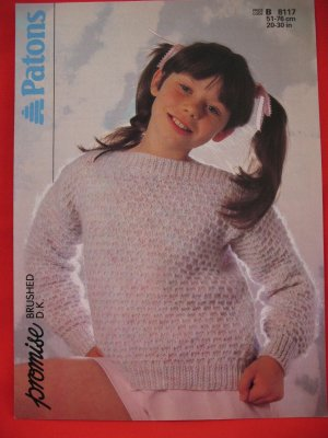 Vintage Patons Slash Neck Knitting Patterns Children Sizes 20 - 30 Inches