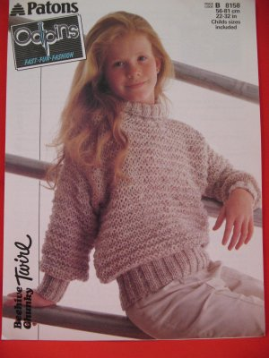 333b145ac Vintage Patons Roll Neck Sweater Knitting Pattern Children Sizes 22- 32  Inches
