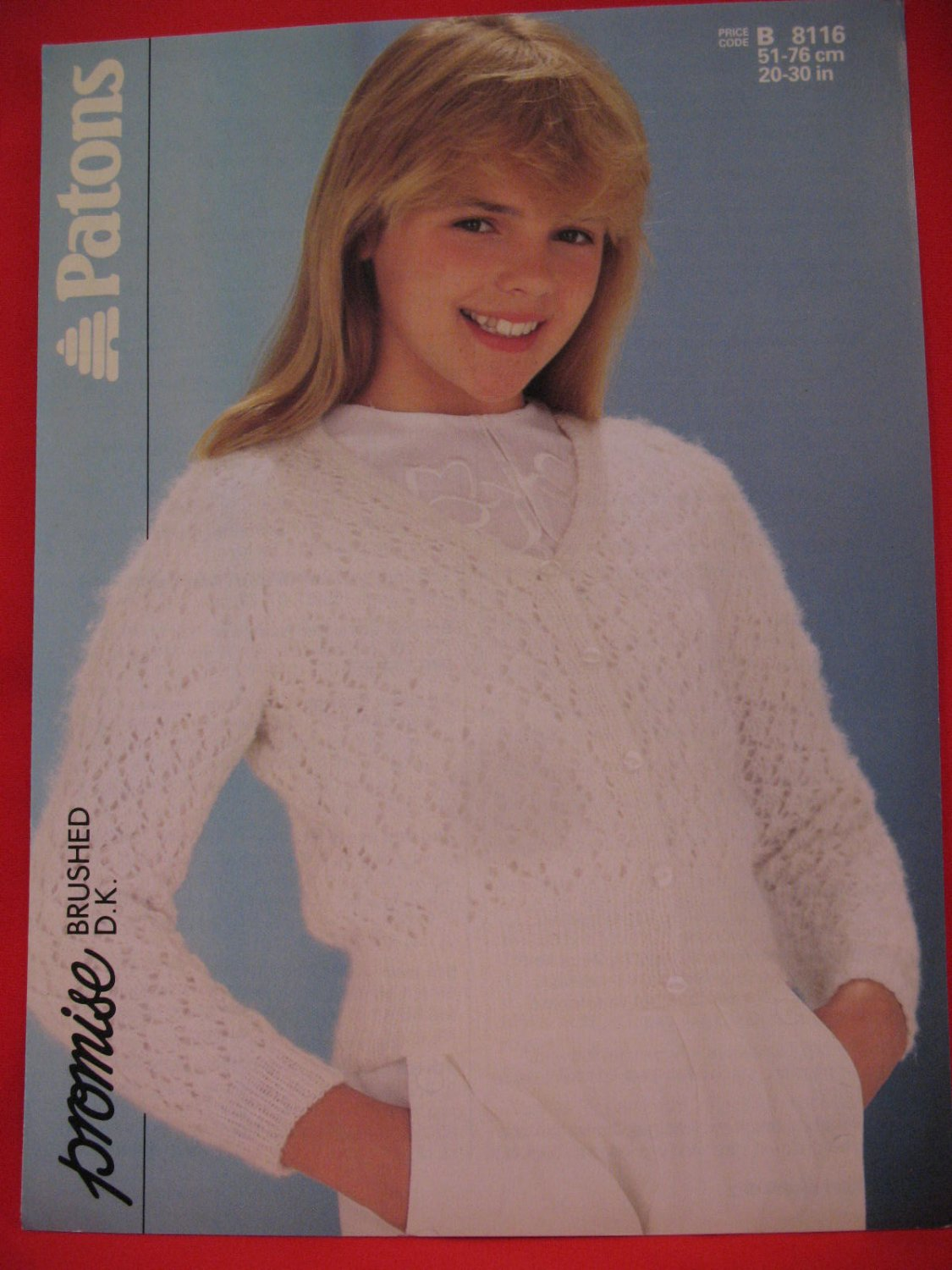Vintage Patons Lacy Cardigan Sweater Knitting Pattern Children Sizes 20 - 30 Inches