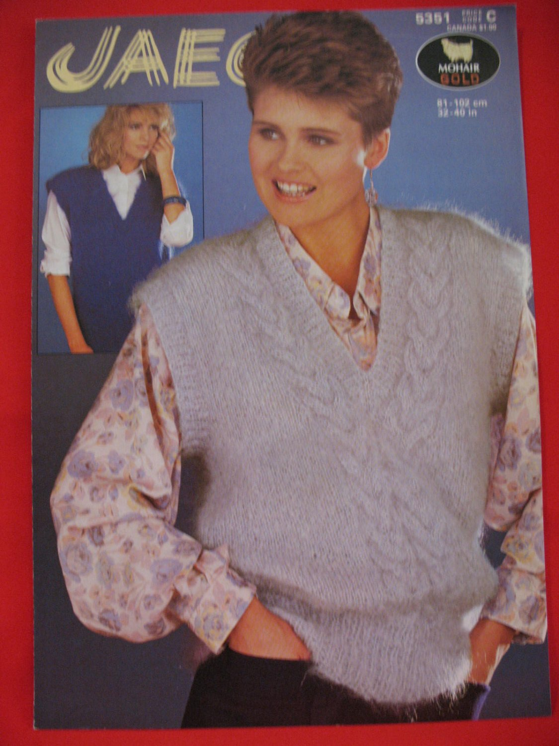 Vintage Jaeger Sweater Vest Knitting Pattern Ladies Cable Panel and Plain Slipovers