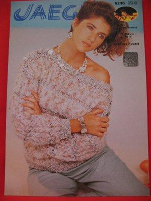 Vintage Jaeger 1984 Slash Neck Sweater Knitting Pattern Ladies Sizes 30 - 40