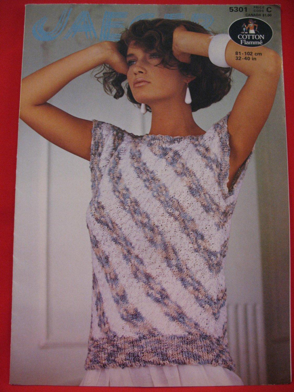 Vintage Jaeger Diagonal Striped Sweater Top Knitting Pattern Ladies Sizes 32 - 40