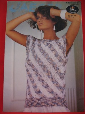 Vintage Jaeger Diagonal Striped Sweater Top Knitting Pattern Ladies Sizes 32 - 40