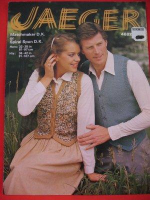 Jaeger Vintage Vest Waistcoat Knitting Pattern Ladies And Mens Sizes