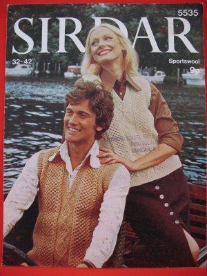 Vintage Sirdar Aran Arran Vest Knitting Pattern Ladies and Mens Sizes 32 - 42