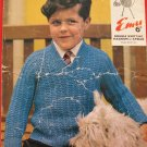 Vintage Emu Double Knitting Pattern Childrens Pullover Sweater Sizes 23 - 27 Inches