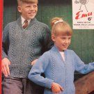 Emu Double Knitting Pattern Childrens Zippered Sweaters with Pockets Sizes 24- 32 Inches