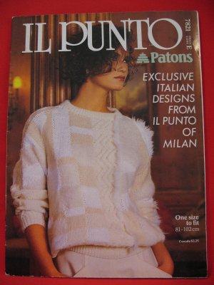 "Patons Lady's Il Punto of Milan Italian Sweater Vintage Knitting Patterns Ladies Sizes 32"" - 40"""
